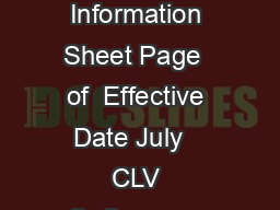 Las Vegas Fire  Rescue Fire Prevention Division Information Sheet Page  of  Effective Date July   CLV Ordinance   The items listed are basic information only