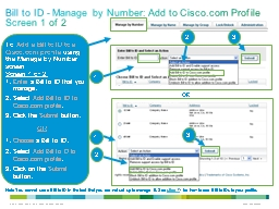 Bill to ID - Manage by Number: Add to Cisco.com Profile