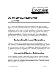 PASTURE MANAGEMENT  LESSON 6 1    To be a successful beef cattle produ