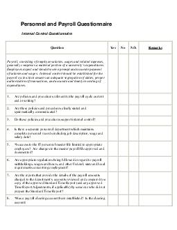 Personnel and Payroll Questionnaire
