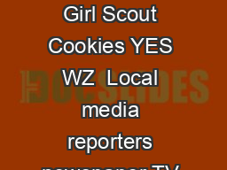 The many uses of PR Girl Scout Cookies YES WZ  Local media reporters newspaper TV radio etc