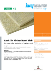 Rocksilk Pitched Roof SlabFor over rafter insulation of pitched roofsM