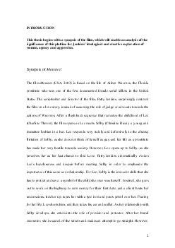 INTRODUCTION This thesis begins with a synopsis of the film which will enable an analysis of the significance of this plotline for Jenkin s ideological and creative exploration of women agency and ag
