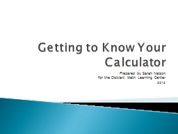 Getting to Know Your Calculator