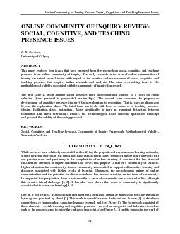 Online Community of Inquiry Review: Social, Cognitive, and Teaching Pr PowerPoint PPT Presentation