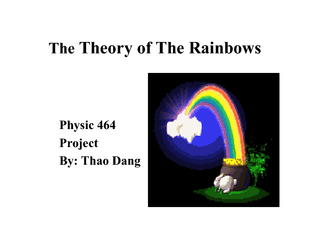 TheTheory of The RainbowsPhysic 464ProjectBy: Thao Dang