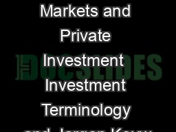 Financial Markets and Private Investment  Investment Terminology and Jargon Keyw