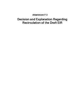 Attachment FDecision and Explanation Regarding Recirculation of the Dr