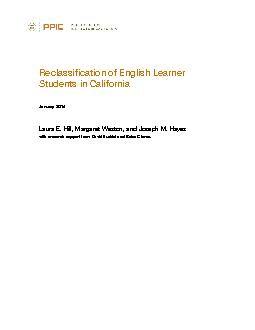 Reclassification of English Learner Students in CaliforniaJanuary 2014