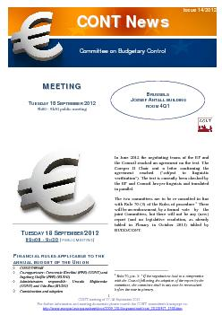 CONT meeting of 17-18 September 2012 For further information and meeti