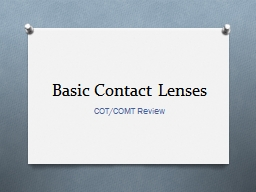 Basic Contact Lenses PowerPoint PPT Presentation