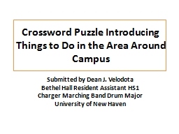 Crossword Puzzle Introducing Things to Do in the Area Aroun