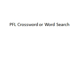 PFL Crossword or Word Search