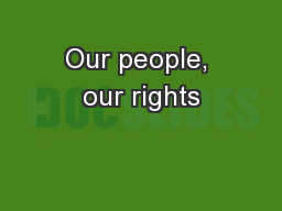 Our people, our rights