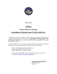 Board of Directors Meeting Rescheduled to Thursday, June 27, 2013 at