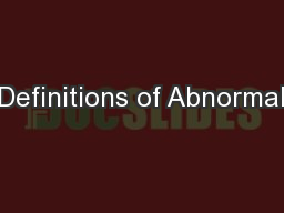 Definitions of Abnormal