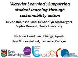 'Activist Learning': Supporting student learning through su