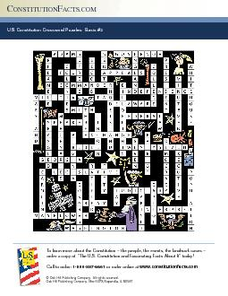 US Constitution Crossword Puzzles Basic  ONSTITUTION A