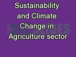 Sustainability and Climate Change in Agriculture sector