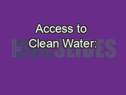 Access to Clean Water: