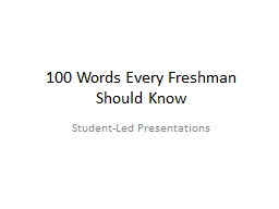 100 Words Every Freshman Should Know PowerPoint PPT Presentation