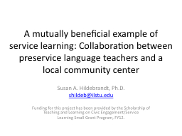 A mutually beneficial example of service learning: Collabor