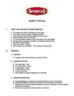 BENEFIT PACKAGEWHAT YOU CAN EXPECT FROM  SPANGLES