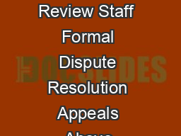 Guidance for Industry and Review Staff  Formal Dispute Resolution Appeals Above  PowerPoint PPT Presentation