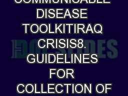 COMMUNICABLE DISEASE TOOLKITIRAQ CRISIS8. GUIDELINES FOR COLLECTION OF