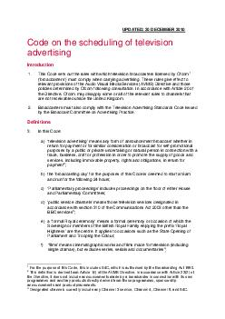 UPDATED  DECEMBER  Code on the scheduling of television advertising Introduction