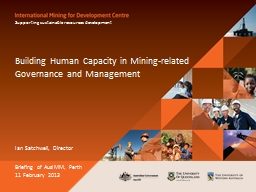 Building Human Capacity in Mining-related Governance and Ma