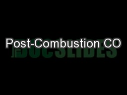 Post-Combustion CO