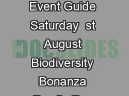 Heritage Week in Mayo  st   th August  County Mayo Event Guide Saturday  st August Biodiversity Bonanza Family Fun with Biodiversity Bingo
