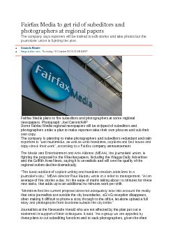 Fairfax Media to get rid of subeditors and
