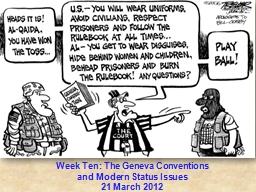 Week Ten: The Geneva Conventions