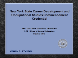 New York State Career Development and Occupational Studies