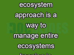 Biodiversity is life Biodiversity is our life Ecosystem Approach The ecosystem approach is a way to manage entire ecosystems keeping in mind that all their components including ourselves are intercon