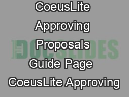 CoeusLite Approving Proposals Guide Page  CoeusLite Approving