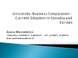 University-Business Cooperation – PowerPoint PPT Presentation