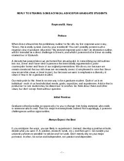 REPLY TO STEARNS SOME ACYNICAL ADVICE FOR GRADUATE STUDENTS Raymond B PDF document - DocSlides