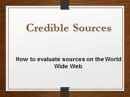 How to evaluate sources on the World Wide Web PowerPoint PPT Presentation