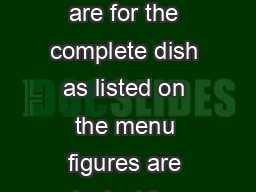 Fayre  Square August   Nutritional Data All nutritional values shown are for the complete dish as listed on the menu figures are typical for each dish and may vary sl ightly as a result of manufactur