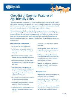 PAGE Checklist of Essential Features of Agefriendly Cities is checklist of essen PowerPoint PPT Presentation