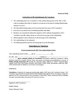 Instructions to fill undertaking by the Transfer