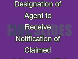 Interim Designation of Agent to Receive Notification of Claimed Infringement Ful