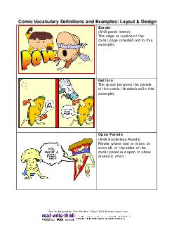 Comic V cabulary Definitions and Examples Layout  Design Border AKA panel frame The edge or outline of the comic page shaded red in this example PowerPoint PPT Presentation