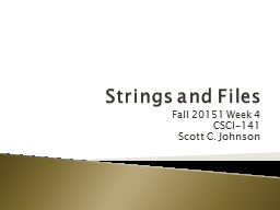 Strings and Files