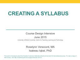Creating a syllabus PowerPoint PPT Presentation
