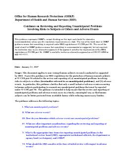 Guidance on Reviewing and Reporting Unanticipated Problems Involving R