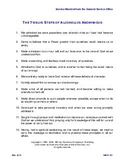 Service Material from the General Service Office THE TWELVE STEPS OF AL COHOLICS ANONYMOUS